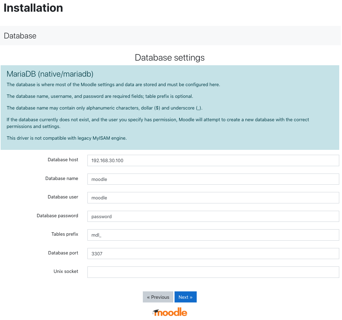 Moodle Database Installation