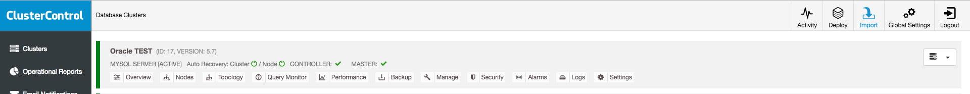 ClusterControl import existing server
