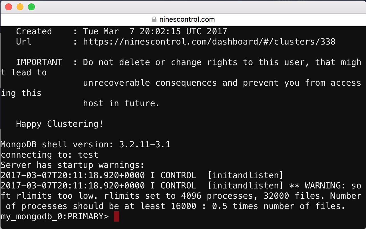 NinesControl MongoDB shell