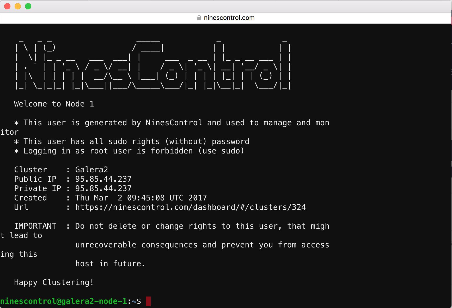 NinesControl WebSSH interface