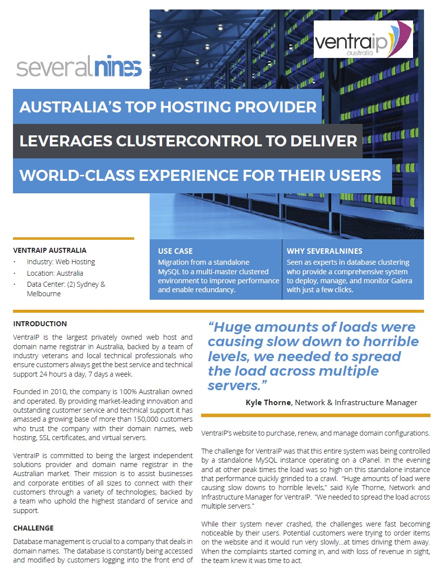 Australias top hosting provider leverages clustercontrol to severalnines is excited to announce its newest customer ventraip an australian based web hosting domain names and ssl certificate provider 1betcityfo Image collections