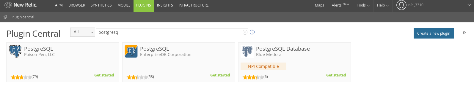 New Relic PostgreSQL plugin from Blue Medora