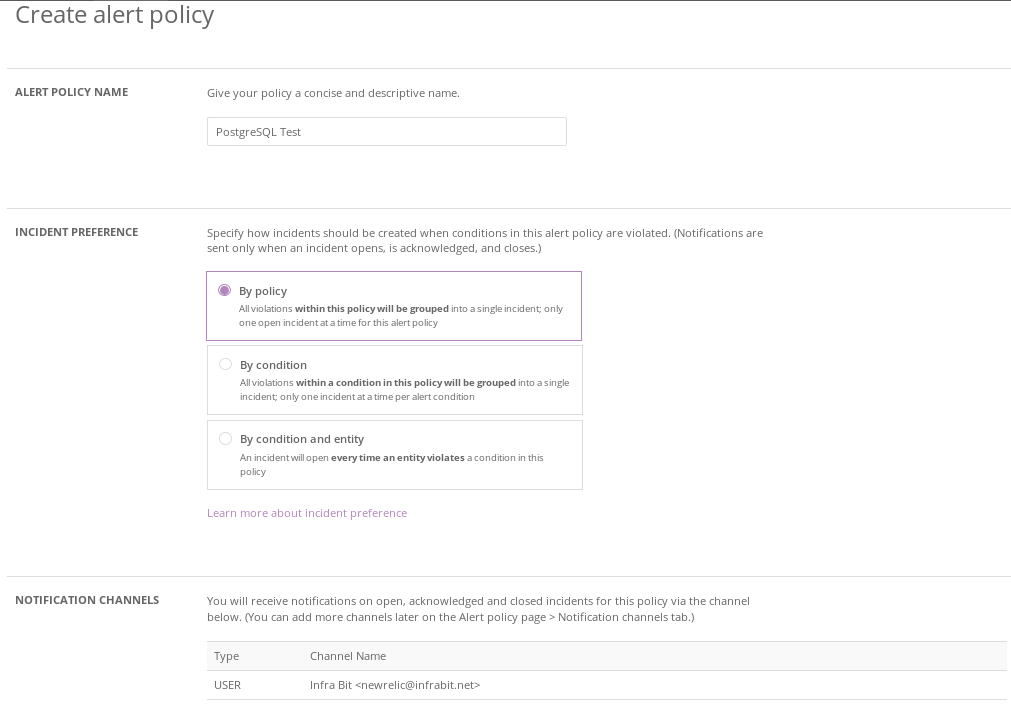 New Relic Alert Policy