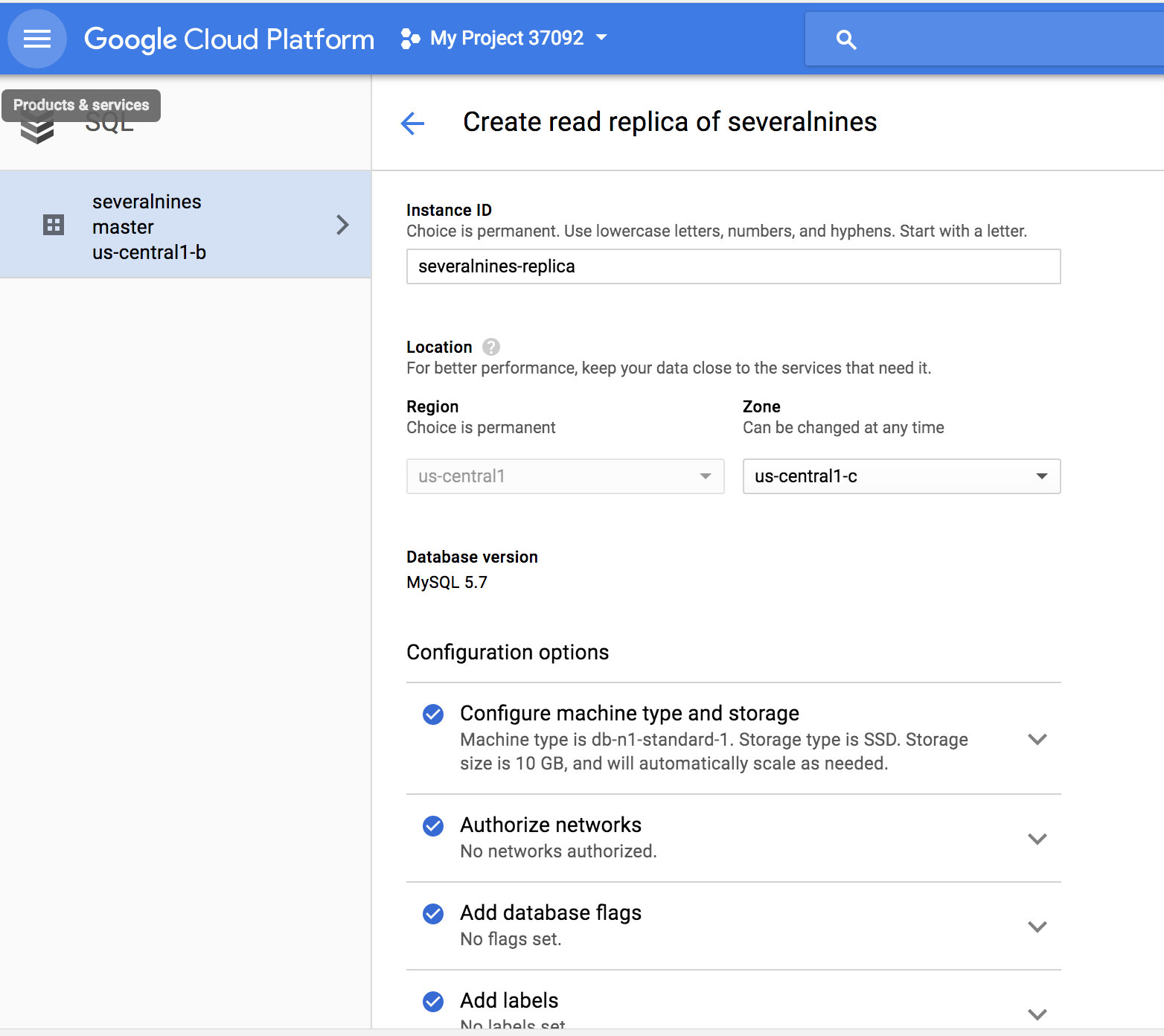 Google Cloud SQL create read replica