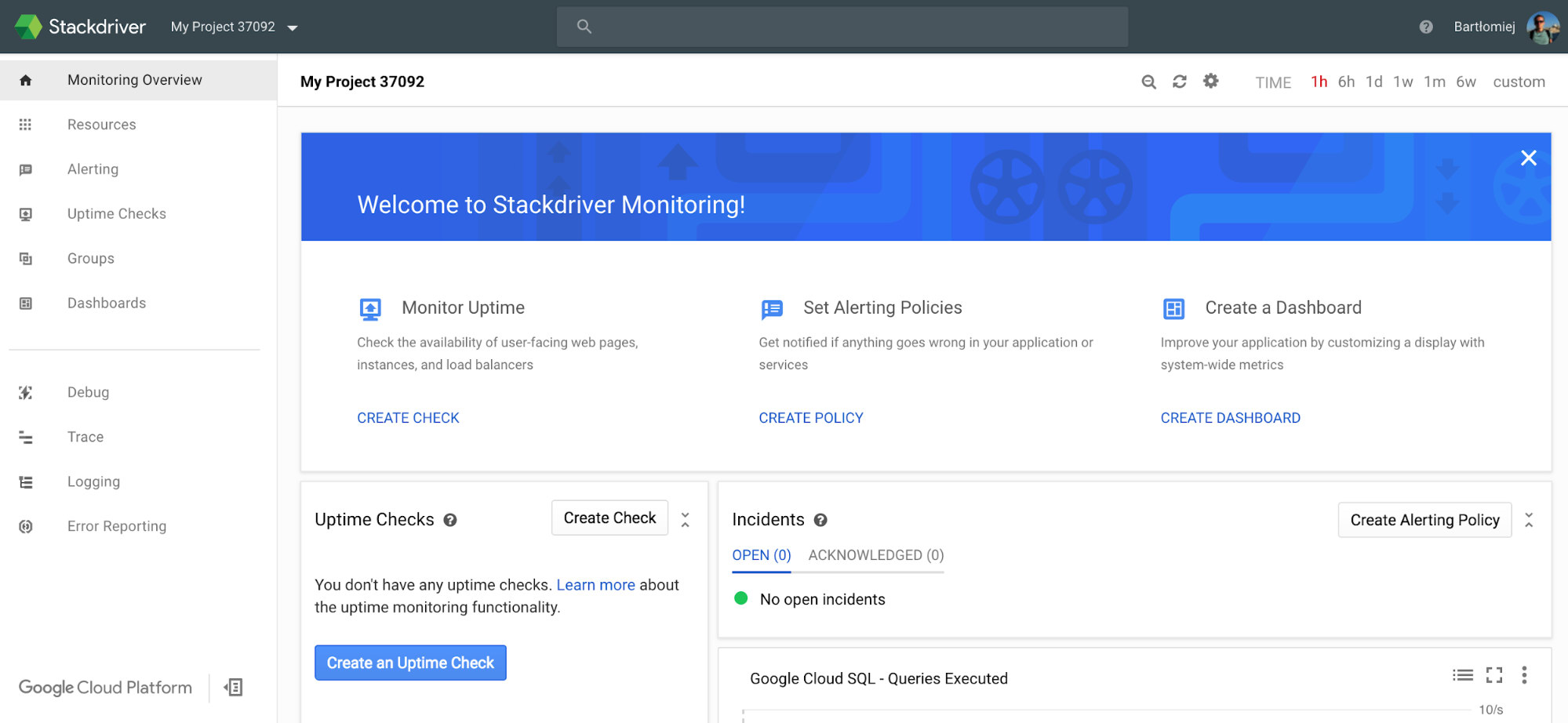 Google Stackdriver monitoring dashboard