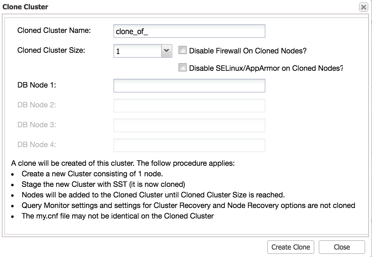 ClusterControl Clone Cluster for test