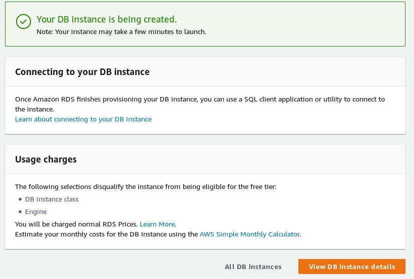 Aurora PostgreSQL wizard setup complete
