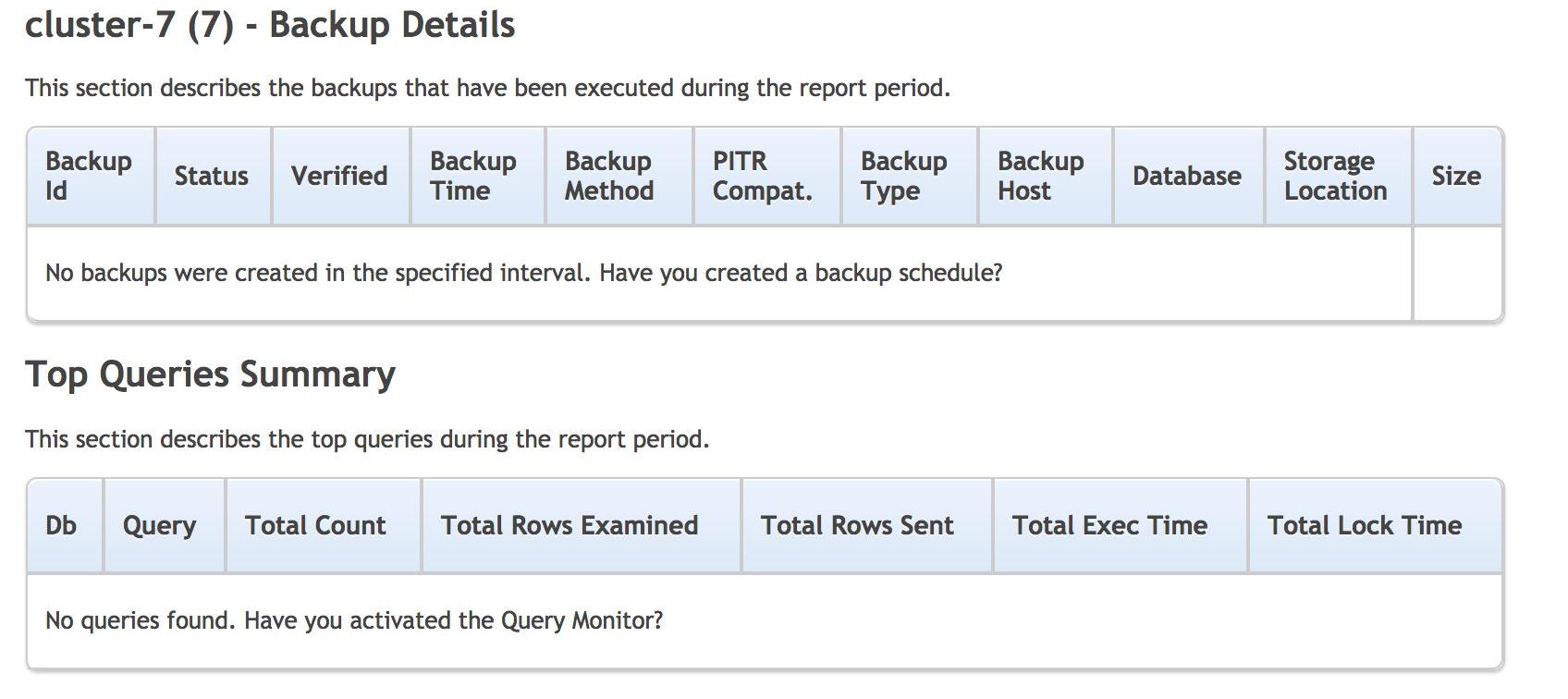 ClusterControl Default cluster report backup details