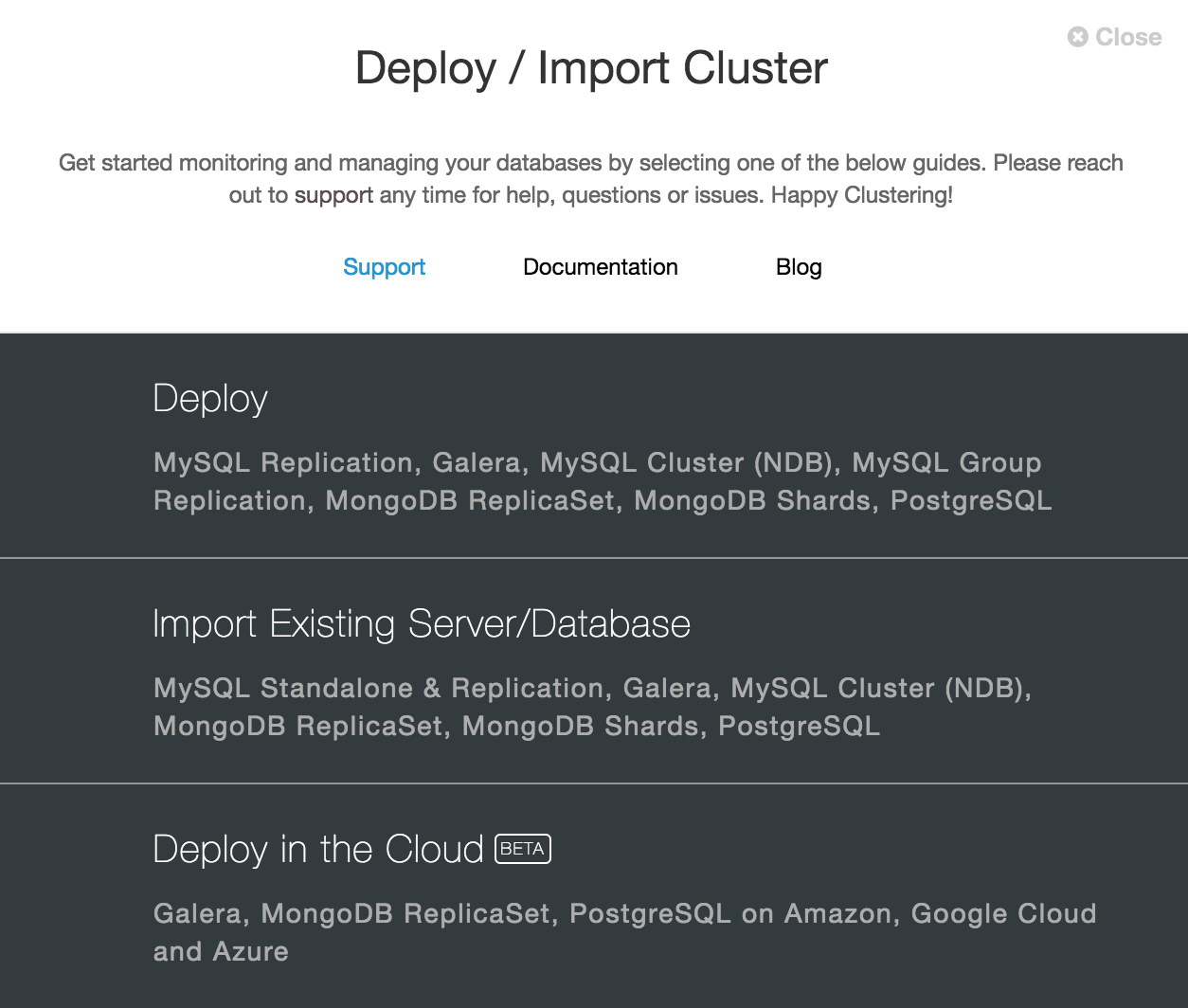 ClusterControl Deploy and import existing cluster