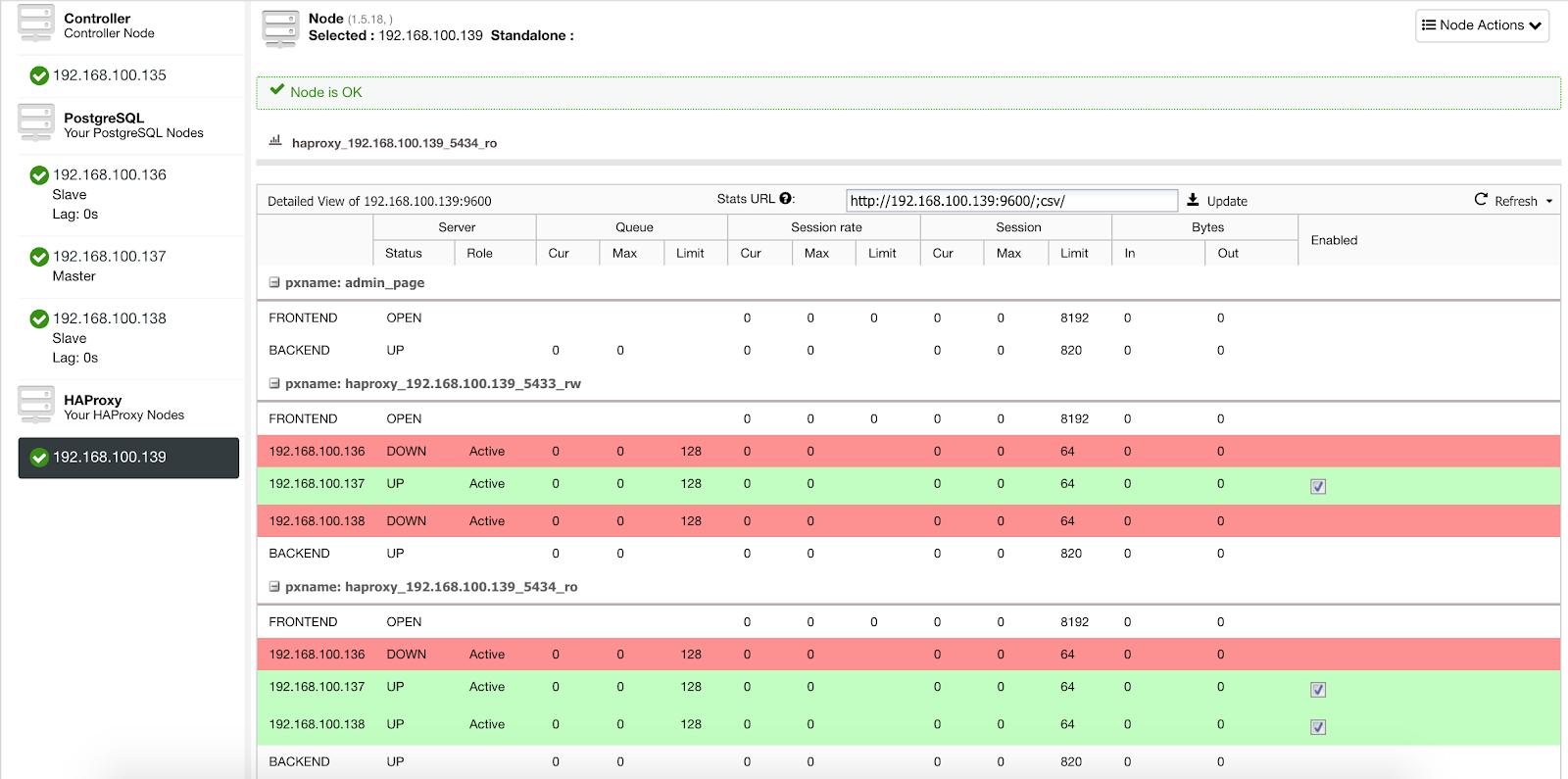 ClusterControl Load Balancer Stats 2