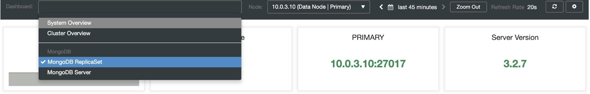 ClusterControl MongoDB dashboard list