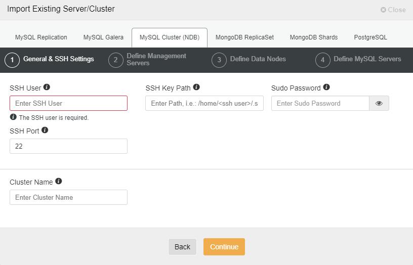 ClusterControl import MongoDB