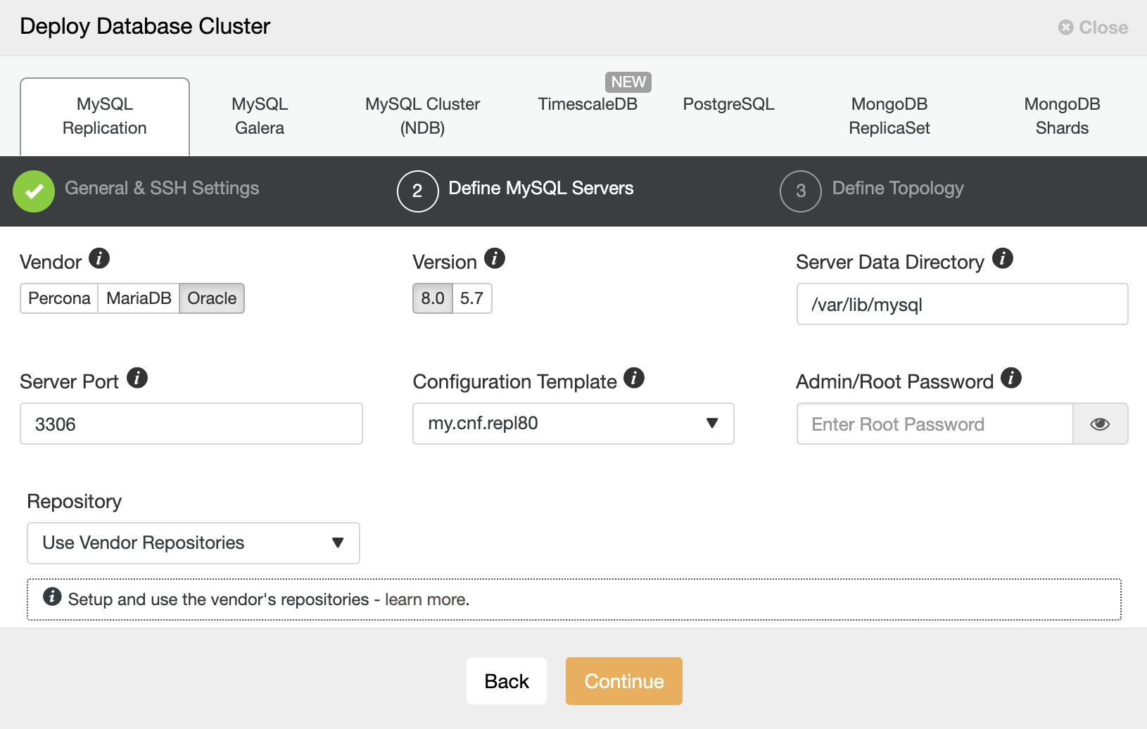 ClusterControl: Deploy Database Cluster