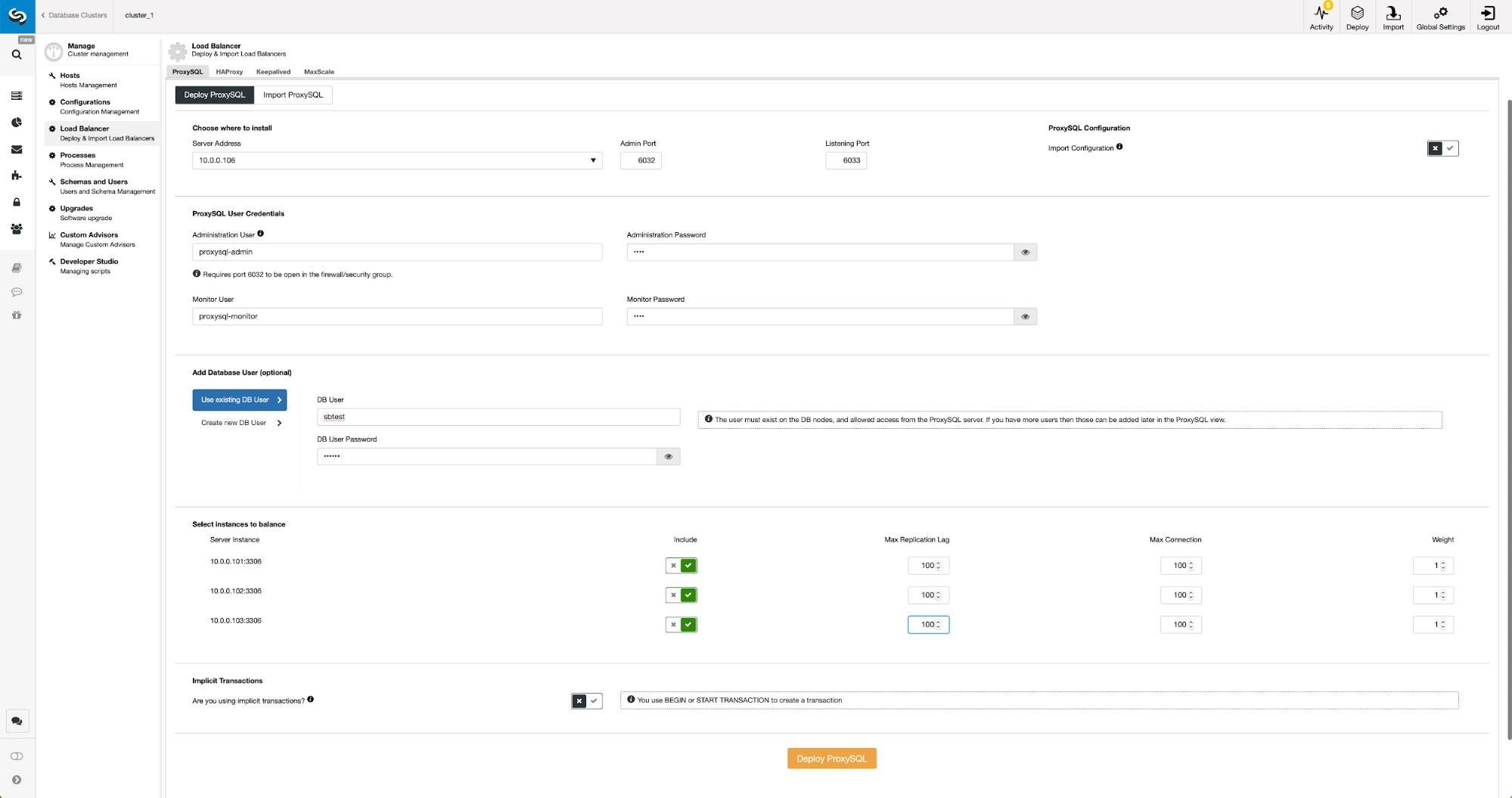 Deploy ProxySQL in ClusterControl