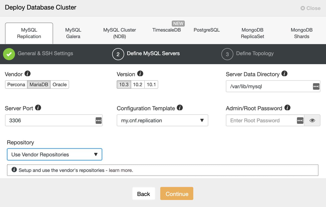 ClusterControl Deploy MariaDB