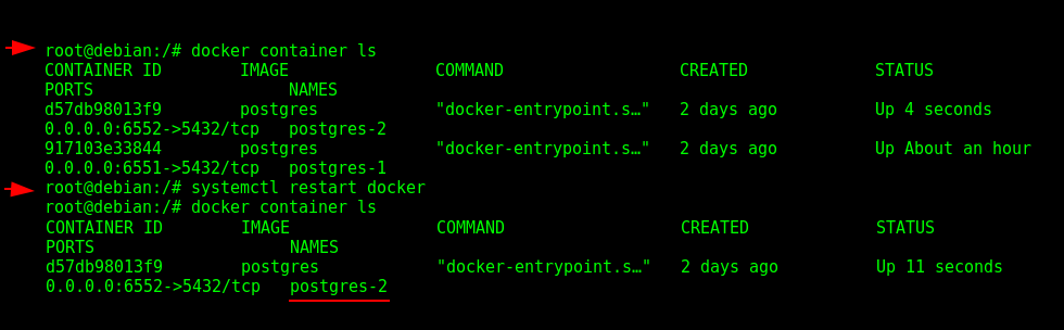"Checking the Container Restart Policy in ""postgres-2""."