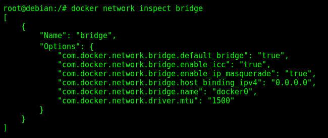Inspecting the Docker default bridge docker0