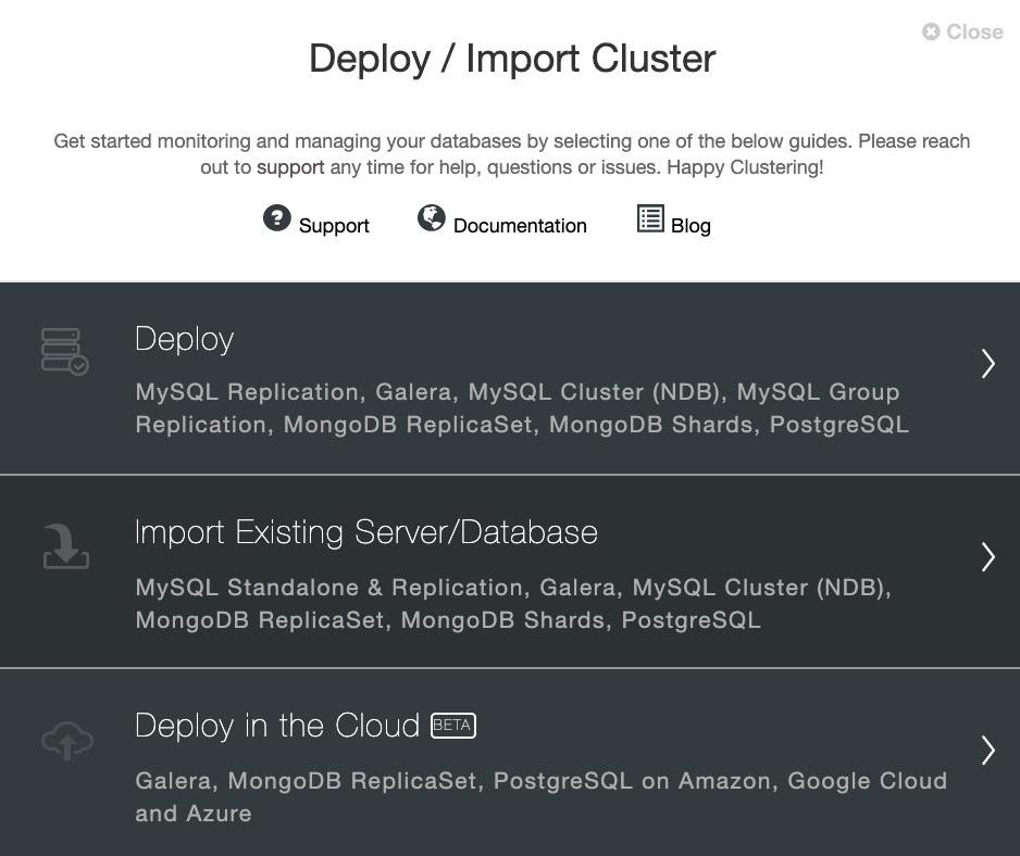 ClusterControl: Deploy/Import