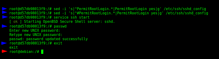 "Configuring the SSH in the ""postgres-2"" container, part 1/2"