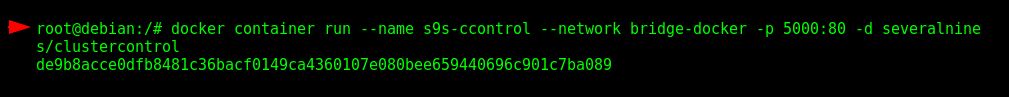 "Running the container ""s9s-ccontrol"" for Severalnines ClusterControl"