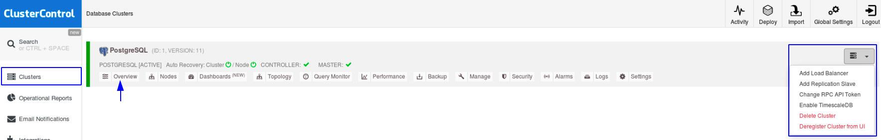 PostgreSQL Cluster imported successfully