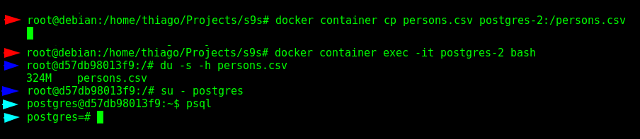 Transfering the CSV file to the container and entering in the database