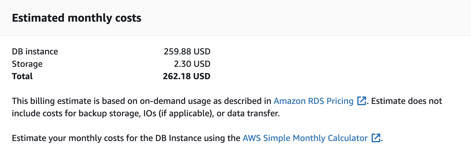 Estimated Costs Screen Amazon RDS