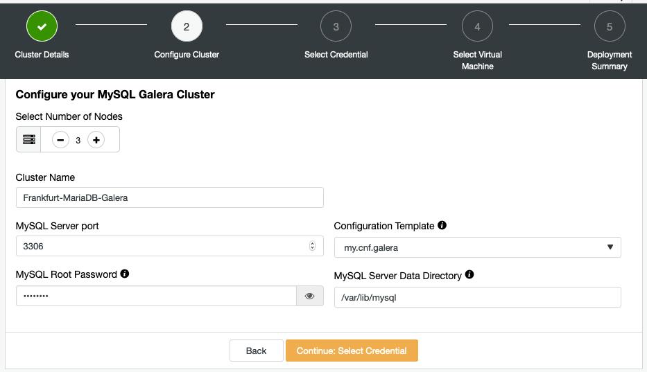 Configure MySQL Galera Cluster in ClusterControl