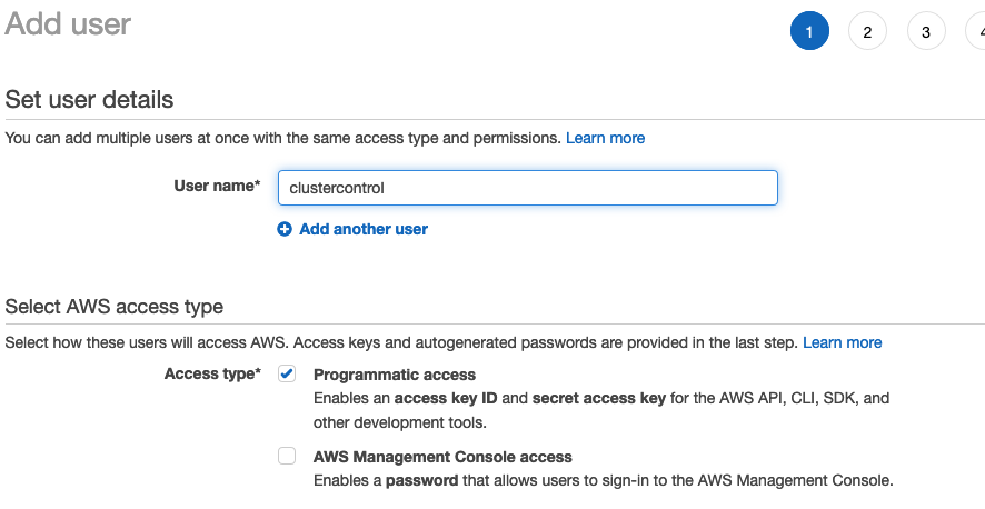 Adding a User in AWS Console