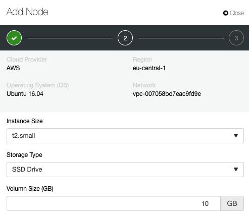 Adding a Node ClusterControl AWS Deployment