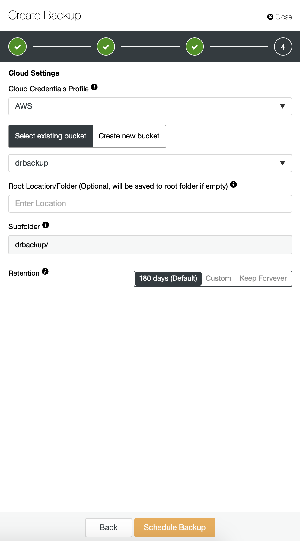 Cloud Settings for Backup Scheduling in ClusterControl
