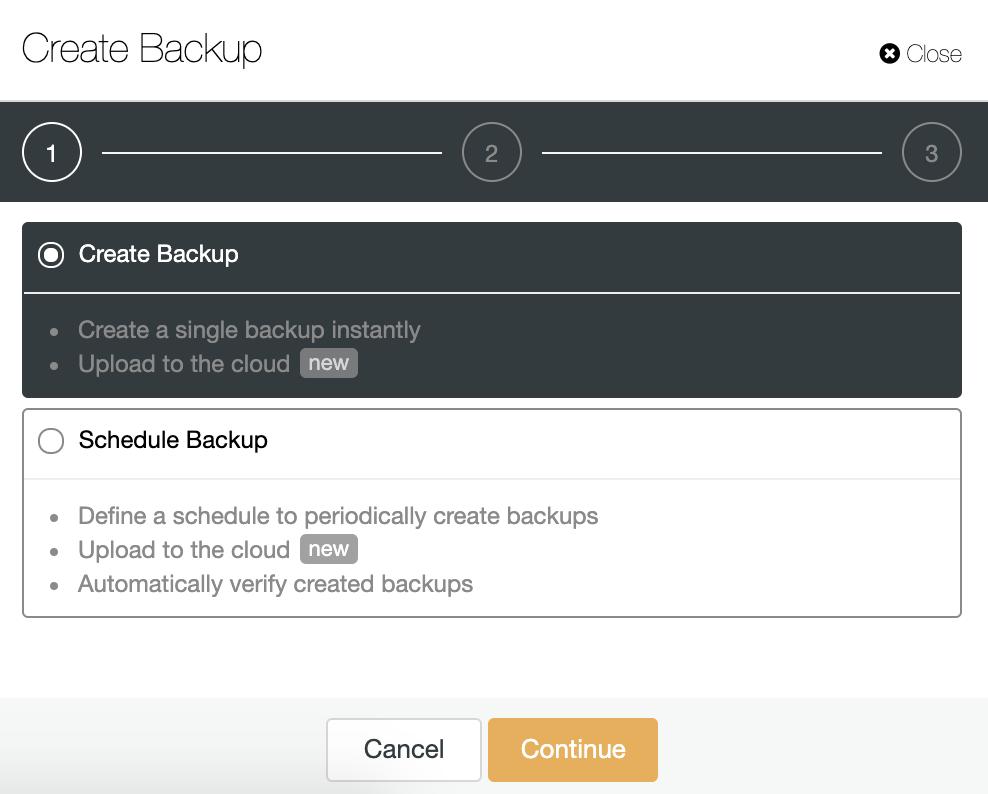 ClusterControl Create Backup
