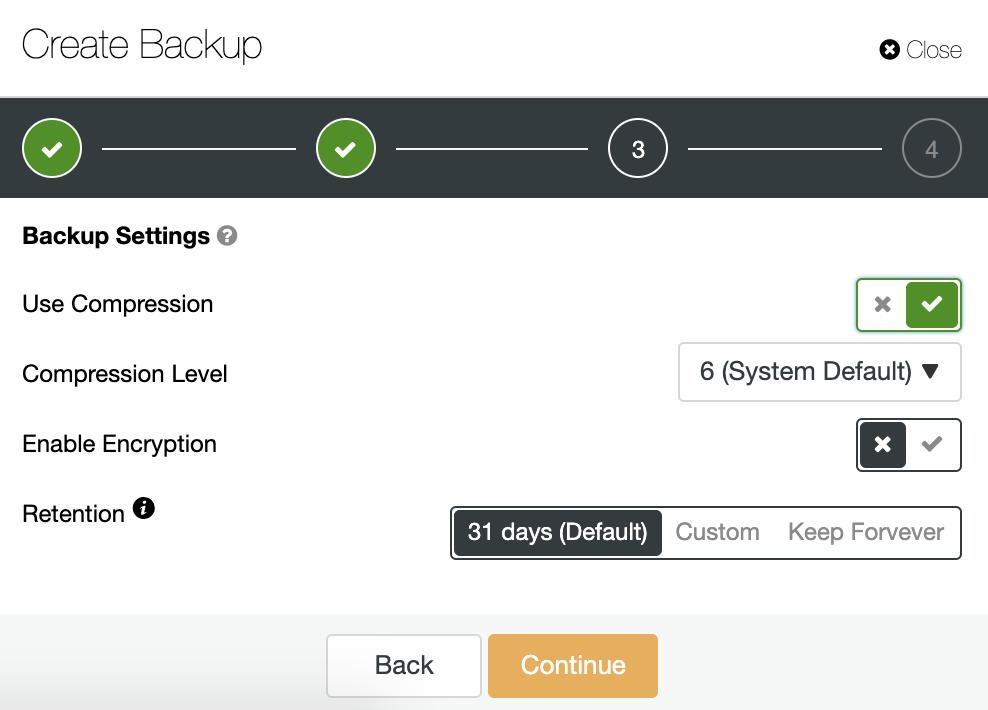 ClusterControl Create Backup Settings