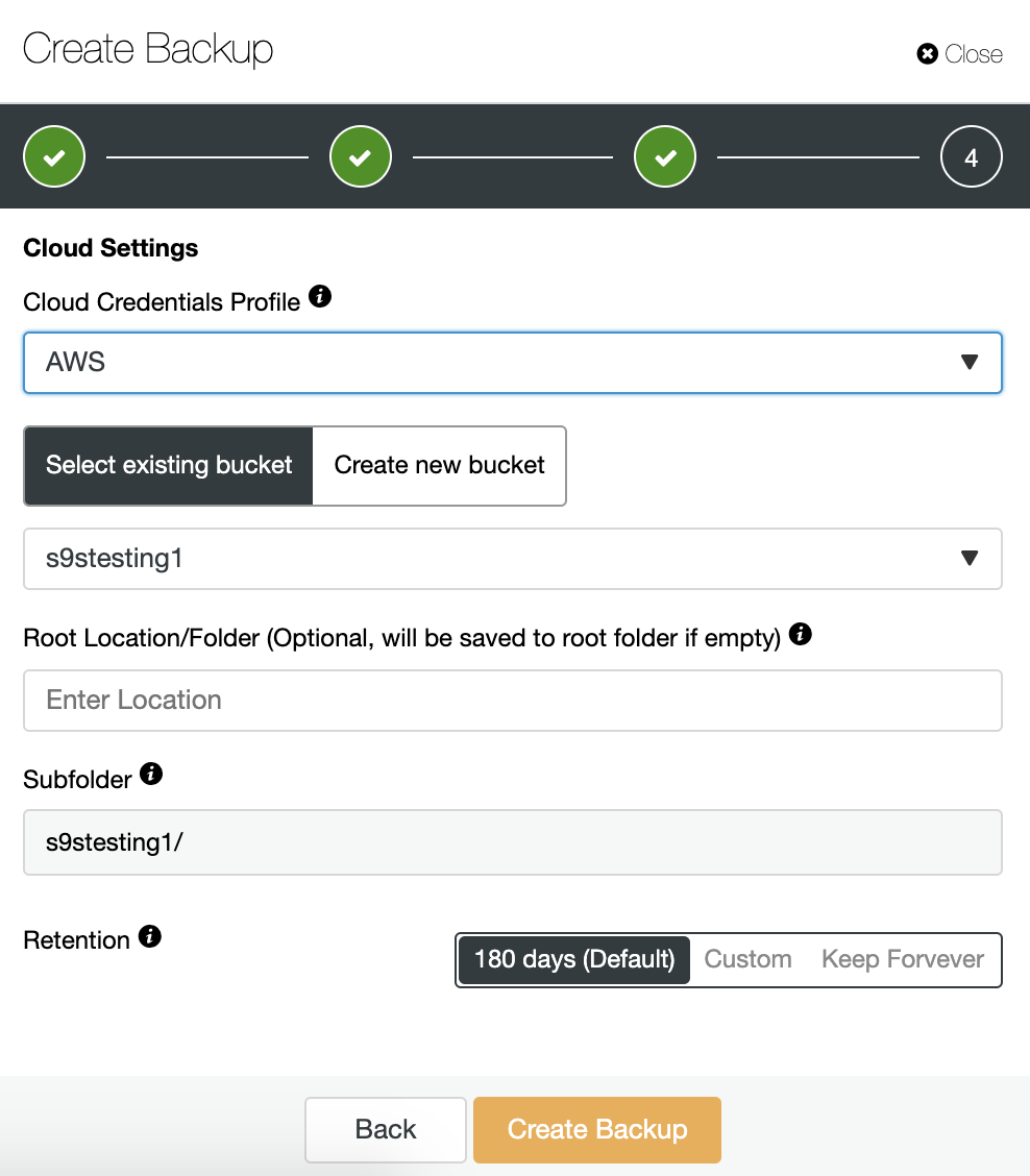 ClusterControl Create Backup Cloud Settings