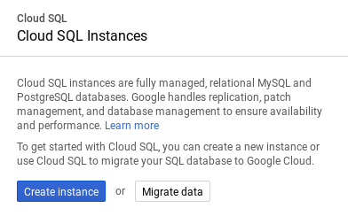Cloud SQL Console: Migration Wizard - start migration