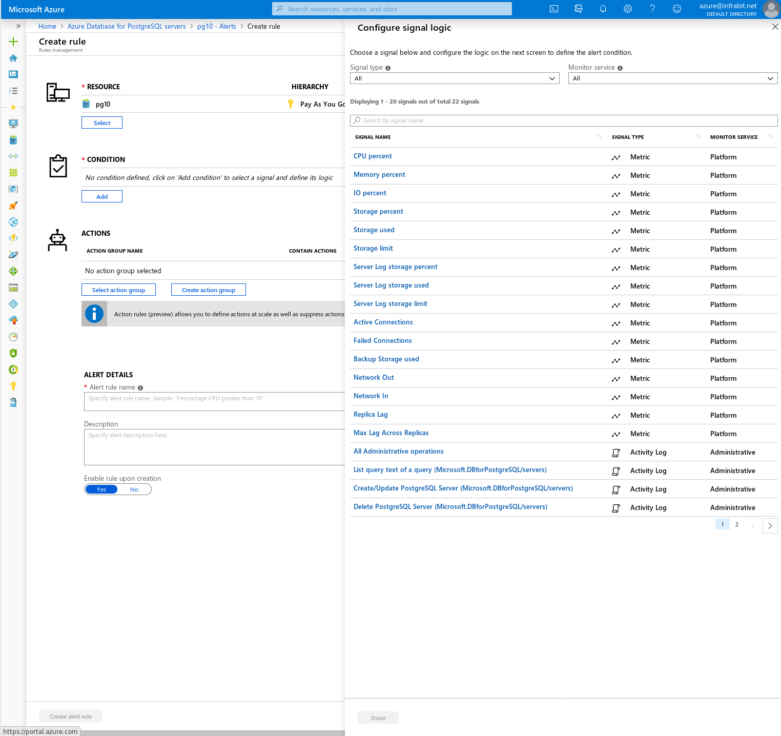 Azure Database for PostgreSQL: Single Server --- Available Alerts