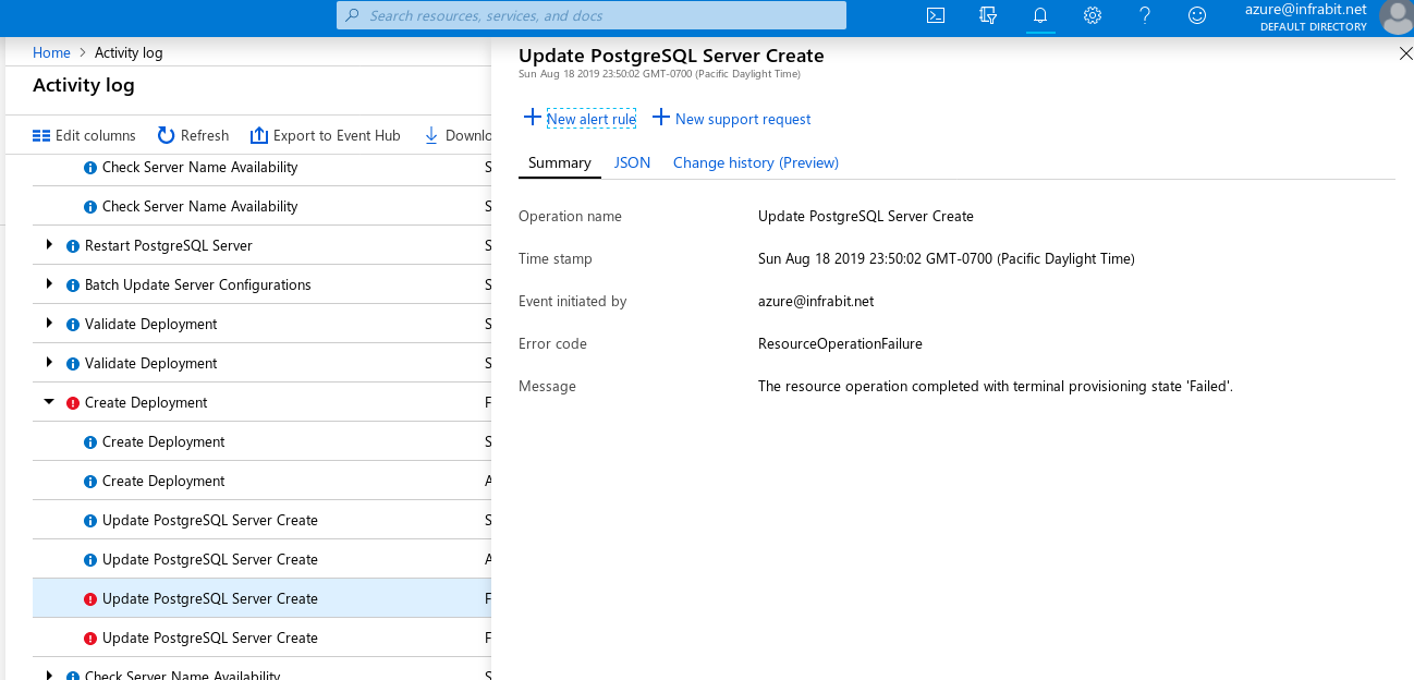 Azure Database for PostgreSQL: Single server --- Activity Log error details on restore failure