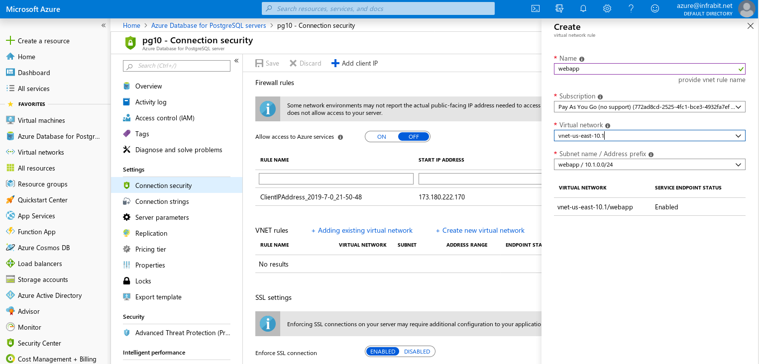 Azure Database for PostgreSQL: Single server --- Firewall --- Adding a VNet