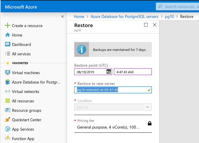 Azure Database for PostgreSQL: Single server --- point-in-time restore screen