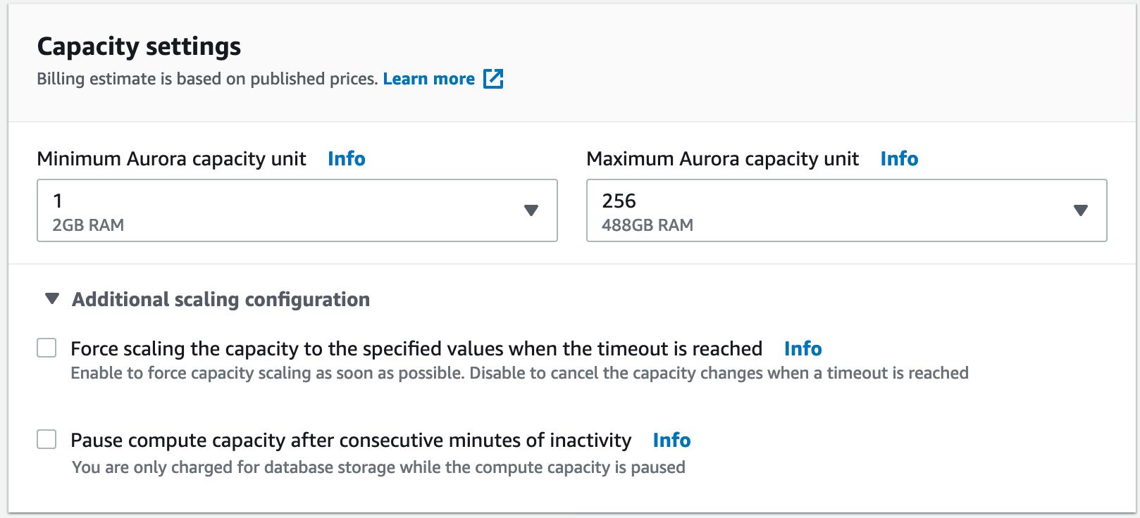 Aurora Serverless deployment summary
