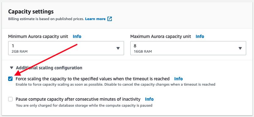 Amazon Aurora Capacity Settings
