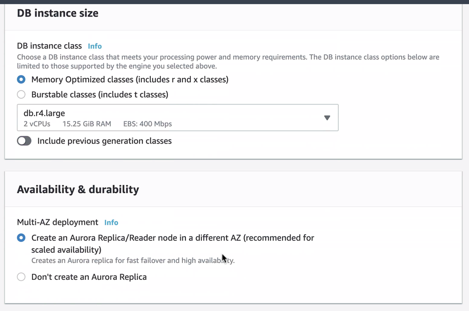 Amazon RDS DB Instance Size