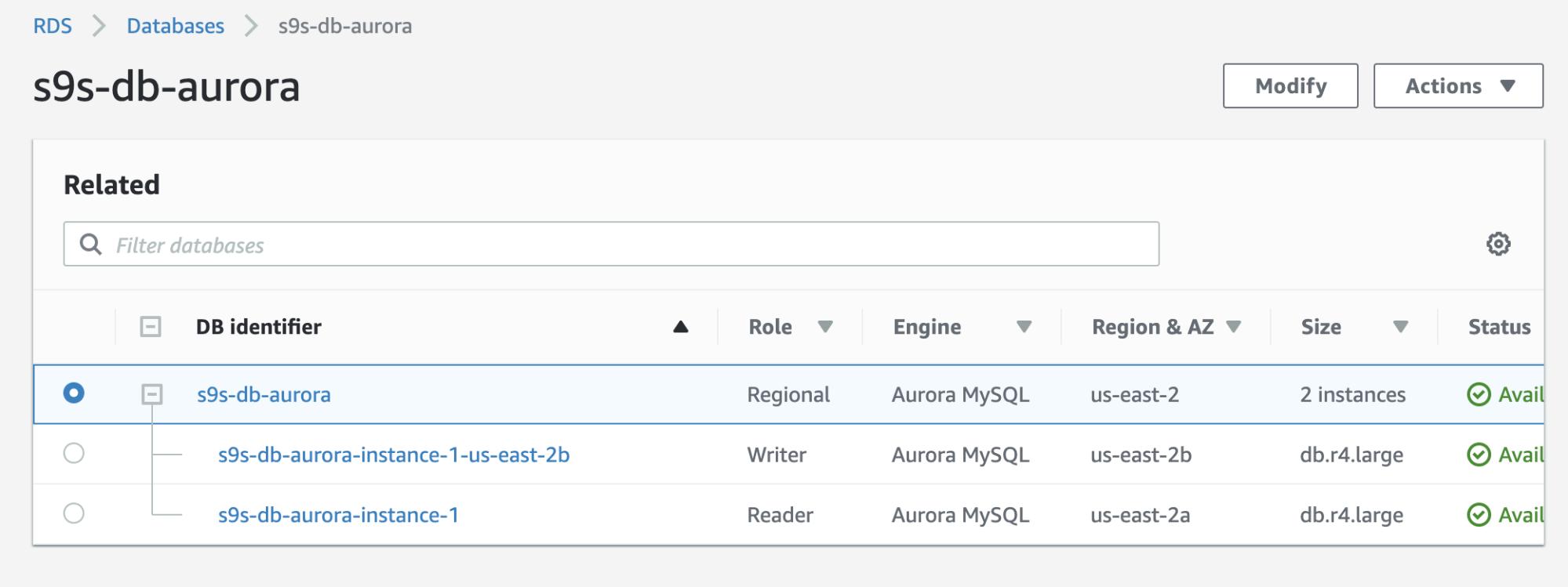 Aurora Status Amazon RDS