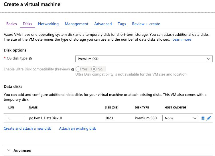 Azure Create a Virtual Machine - Disk Options