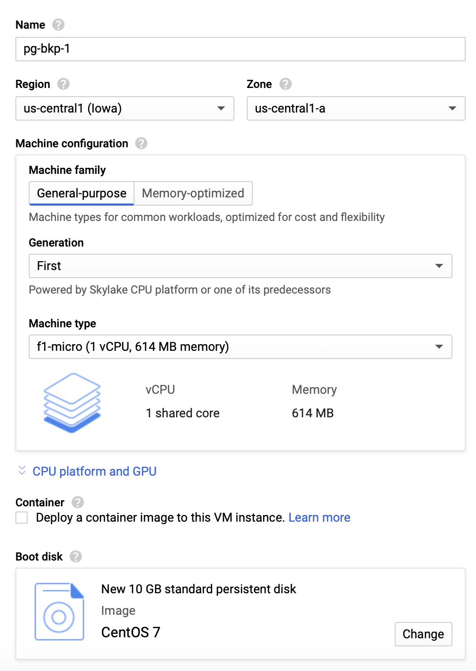 Google Cloud - Create Compute Instance