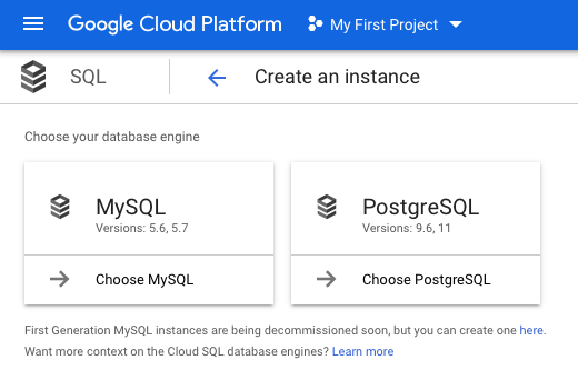 Google Cloud SQL - Create Instance