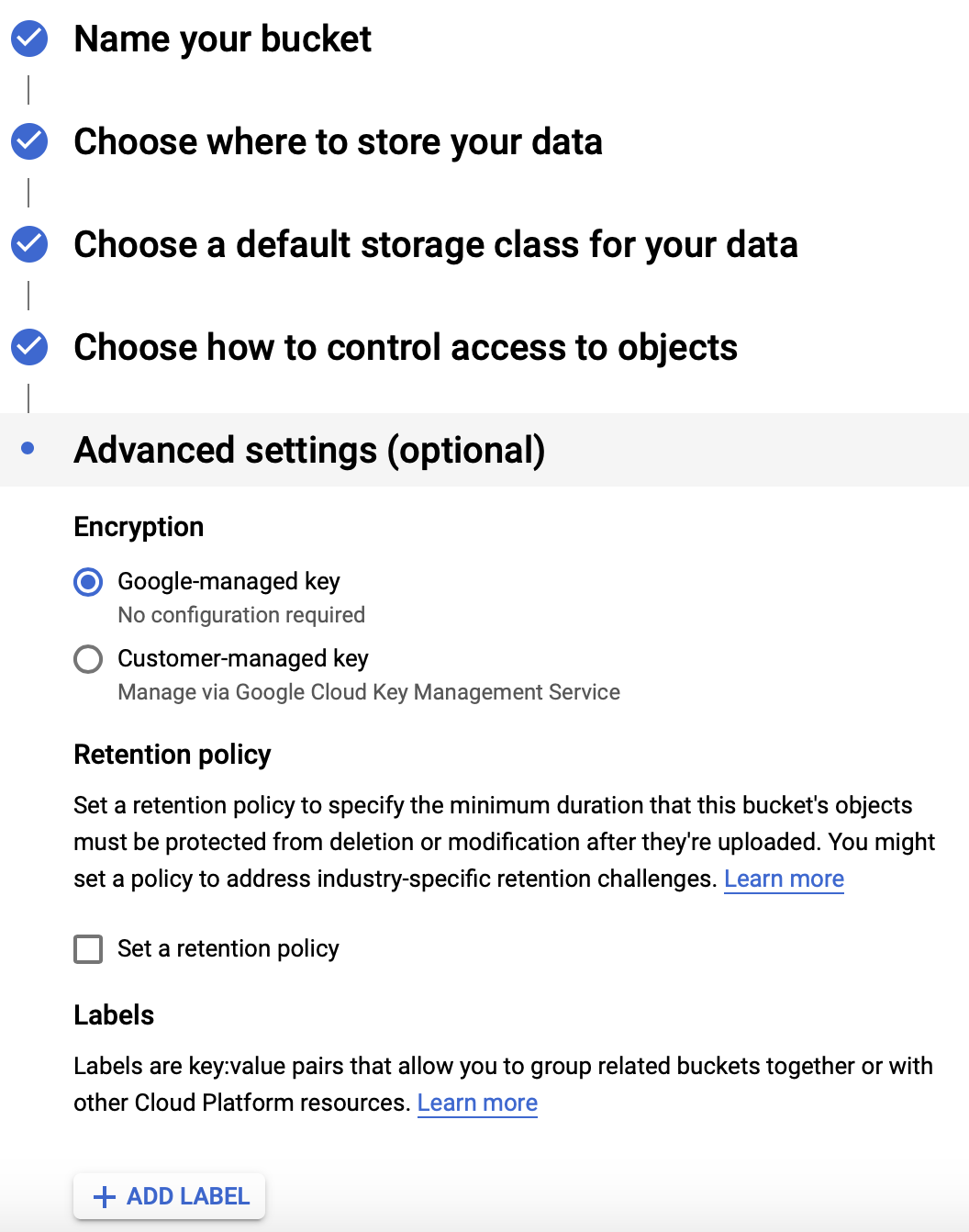 Advanced Setting - Google Cloud