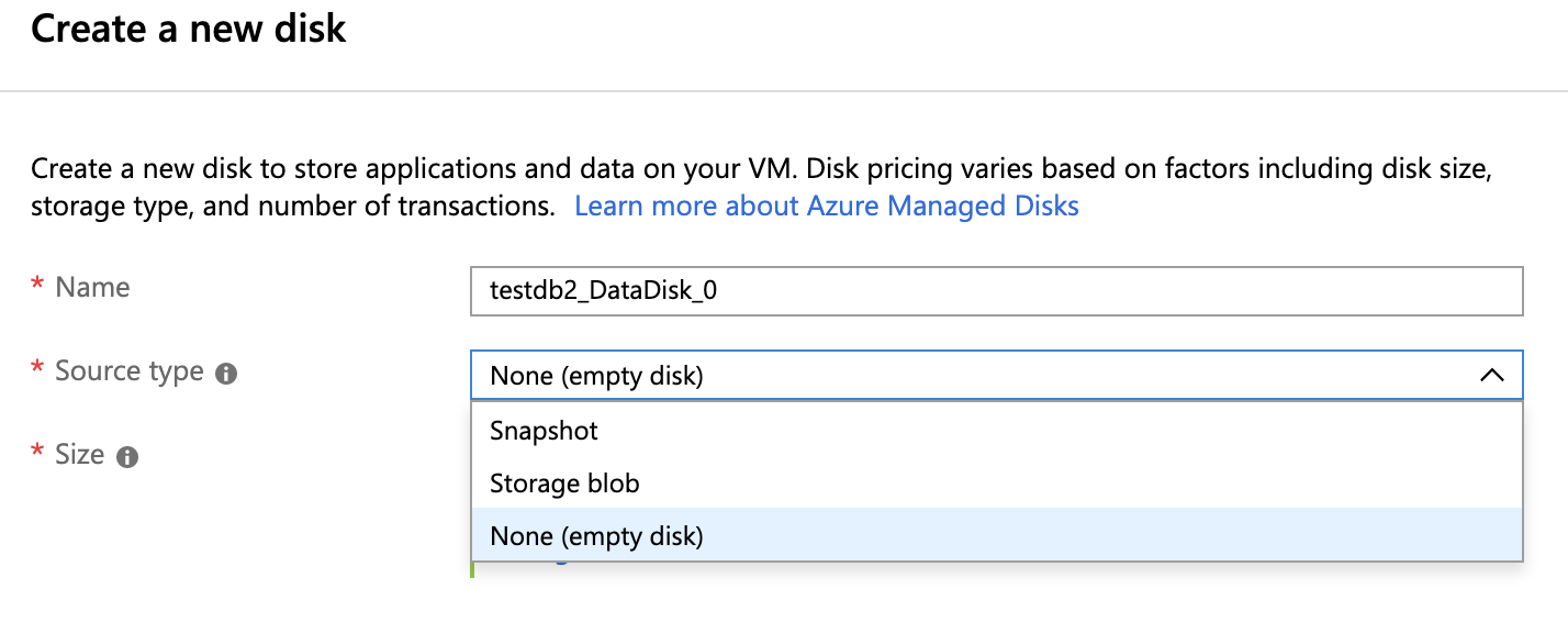 Create a New Disk - Azure