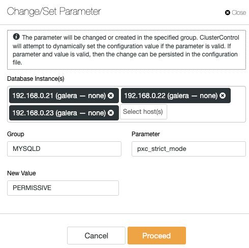 Change Set Parameters - ClusterControl