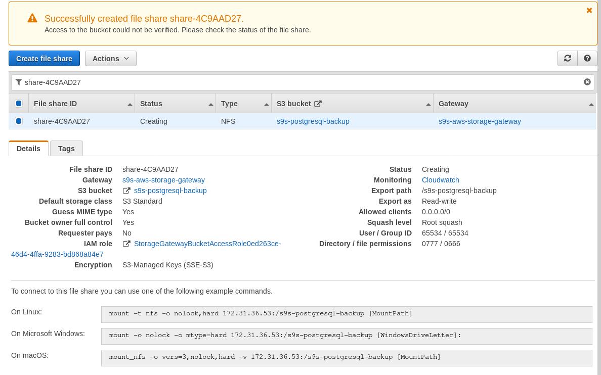 AWS Storage Gateway: File gateway EC2 setup wizard